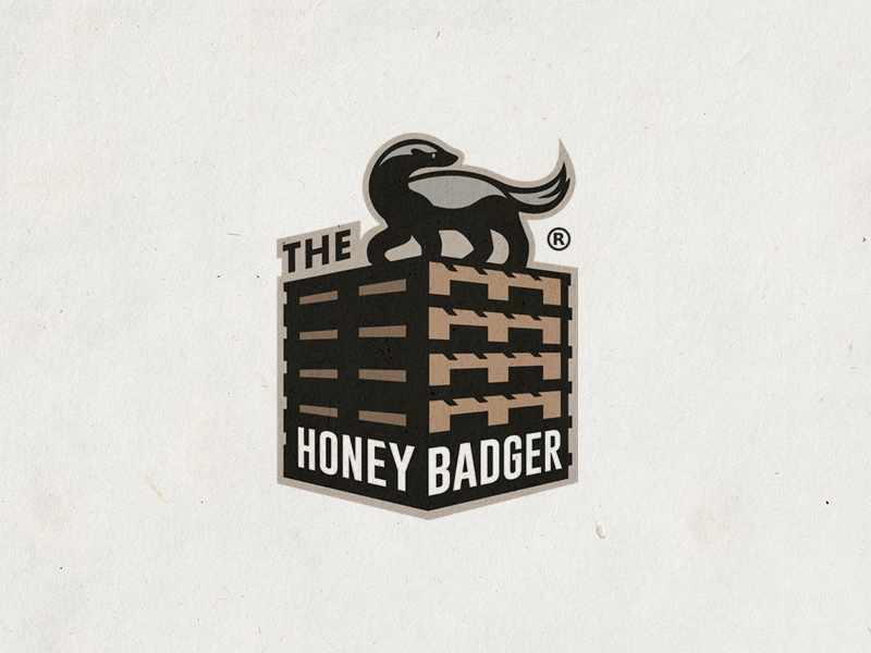The Honey Badger Pallet Machine camocreative brand logo wood machine construction animal badger