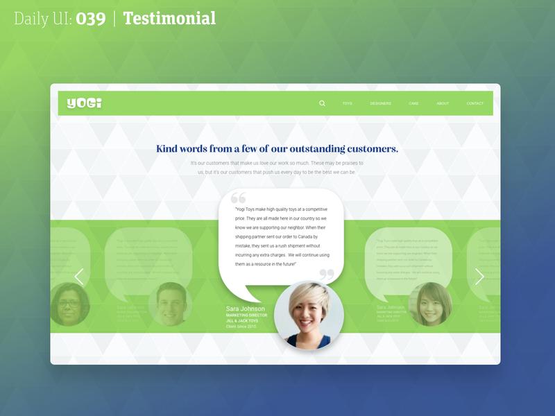 Daily UI 029 | Testimonials 039 39 testimonial web dailyuichallenge dailyui daily ui daily 100 challenge