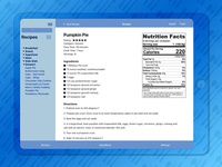 Recipe Nutrition Wireframe