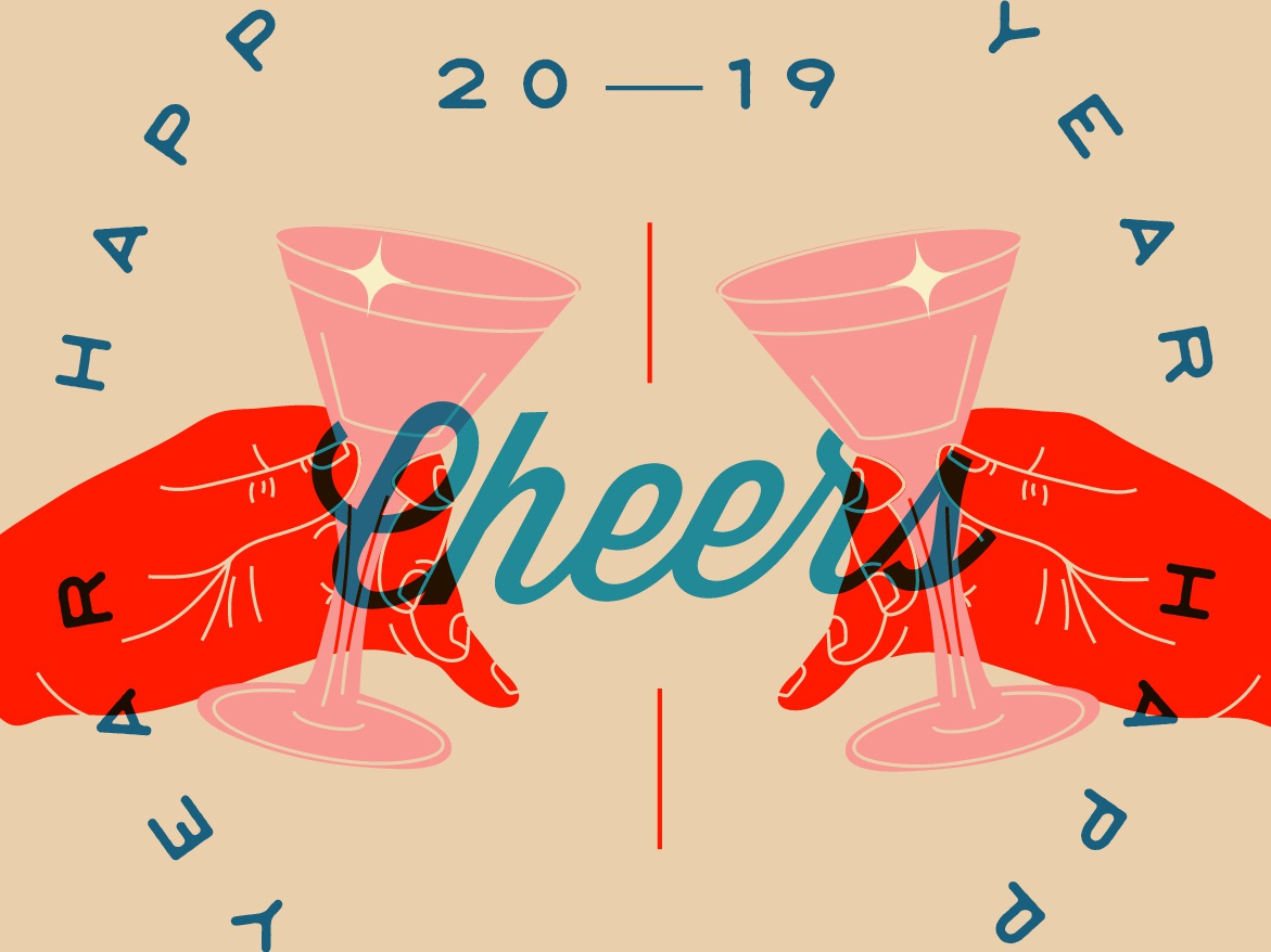 Cheers to the New Year typography graphicdesign cheers hands illustration new year 2019 new year