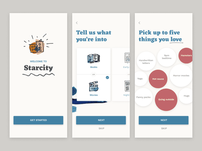 Mobile Onboarding quiz select user centered visual design onboarding flow mobile design app ux ui