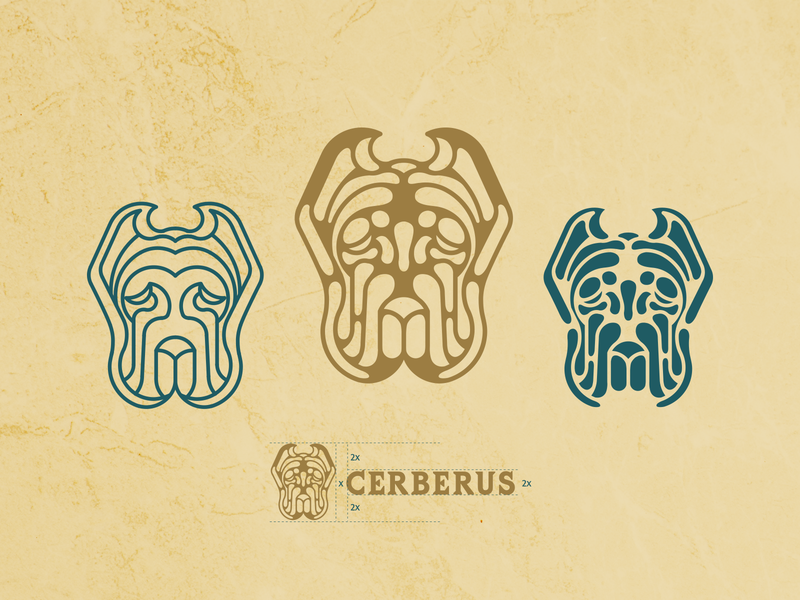 Cerberus Bar Logo Design bar logodesign logo process lineart dog logo grid wordmark symbol icon brand identity logo type branding flat typography