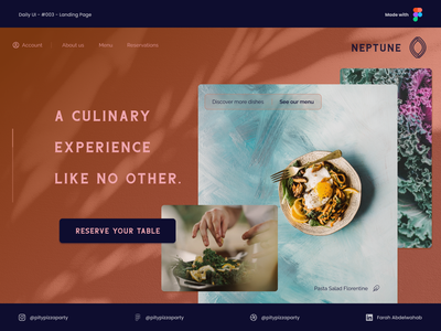 Restaurant Landing Page web figma food restaurant landing page daily ui design