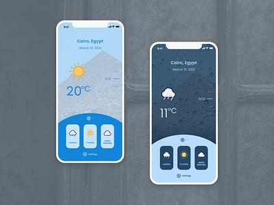 Cairo Weather cairo rain weather pastel solid fun playful minimal typography ux daily ui blue app ui mobile figma design