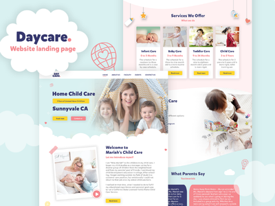 Home daycare website design behance template design baby sitter baby ux ui website kids