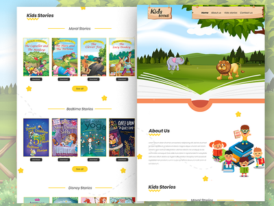 Kids stories website design ui design website concept websites web kids stories website kids books website kids books kids illustration kids book kids template design web design website design website