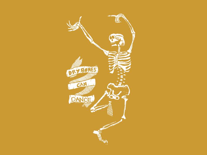 Dry Bones Can Dance! lettering clean type character blog icon hand drawn typography logo digital website vector texture web minimal illustrator illustration identity design branding