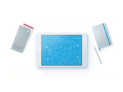 New user tour illustration-2 with our new style. boardingpass blueprint notebook pen ipad