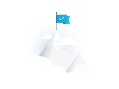 """""""Set up completed"""" Illustration completed mountain illustration flag set up"""