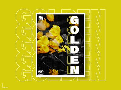 Golden Poster graphic design concept advertisment marketing modern photoshop poster minimal lettering branding exploration typography design