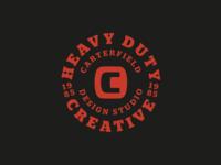 Heavy Duty Creative Badge typogaphy circle type circle logo circle promo 1985 black red tagline logo badge logo badge
