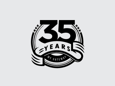 35 Years Badge logo design badge style black and white black  white badge logo 35 logo badge