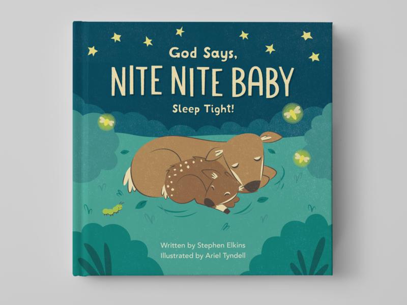 God Says Nite Nite Baby children book illustration night scene animals picture book childrens illustration childrens book