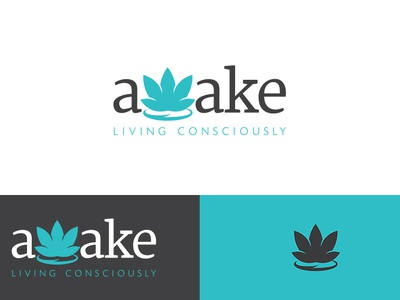 Awake: Living Consciously logo logo design living consciously lotus bright happy blue black graphic design typography