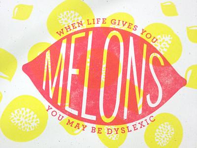 Melons Letterpress Print wip work in progress letterpress lemons melons summer