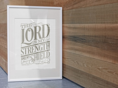 The Lord is my Strength & My Shield typography vintage poster tshirt design godcloud god lord bible verse scripture psalm 28:7
