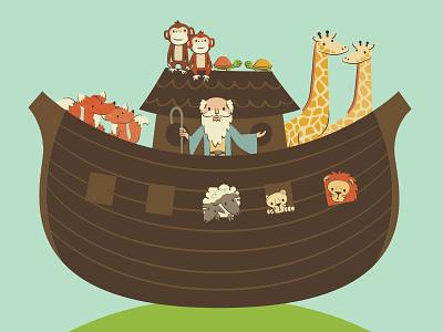 Noah's Ark WIP children illustration sunday school bible wip work in progress animals boat ark noah noahs ark