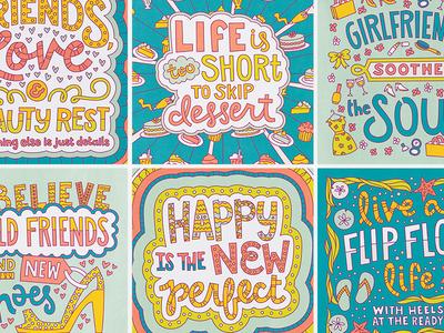 6 Handlettered Girly Illustrations