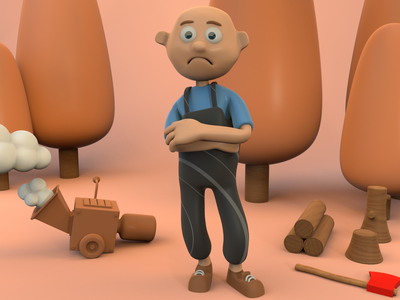 Sad Lumberjack lighting scene render octane illustration design character cinema 4d c4d 3d