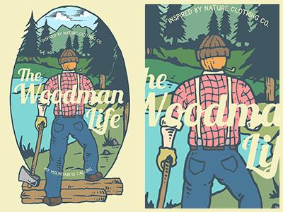 The Woodman Life logo vintage badges retro badges clothing jungle forest t-shirt illustration t-shirt design t-shirt graphic typography life wild landscape nature woodman retro vintage tshirt design illustration
