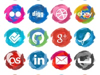 Paint Strokes Social Media Icons