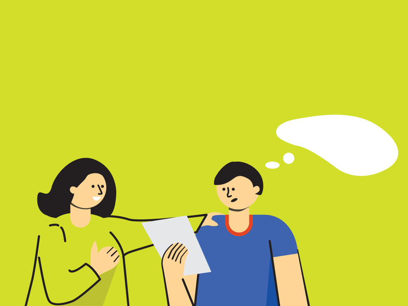 Discussion discussion thoughts girl boy green minimal flat illustrator illustration vector
