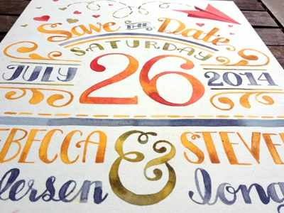 Save the Date  watercolor lettering paint type ampersand lettering watercolor hand lettering typography watercolor handlettering save the date hand lettering