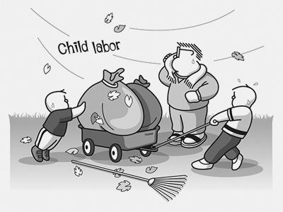 Labor2 sweat family windy fall rake leaf wagon yard labor