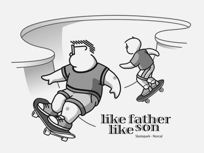 Bowl skateboard comic illustration family cartoon