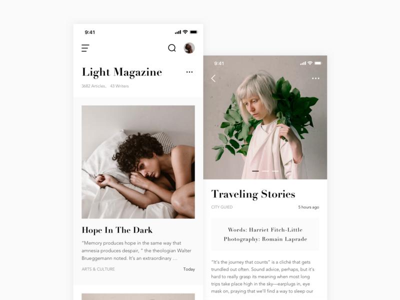 UI Exercises_Light Magazine deep reading reading read simple magazine black  white black 应用 设计 ui
