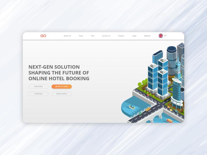 Booking startup landing page front end dev front end design front end website flat web ui design illustration