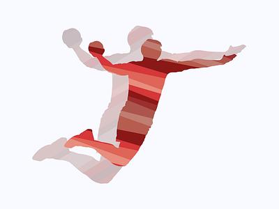 Handballer. flat designs ball vector handball sport illustration designer