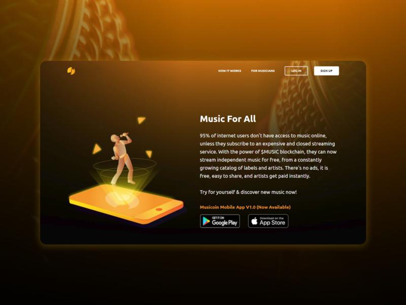 Landing page for a music app front end design front end web development flat design illustration ui landing page