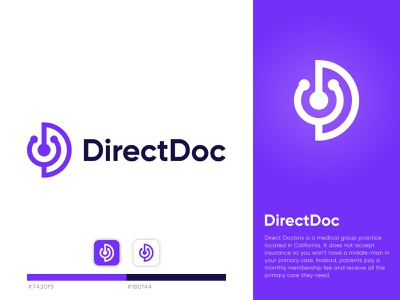 Direct Doc healthcare medical team doctor for app medical lettermark d corporate minimalist professional unique logo monogram branding brand identity icon flat modern