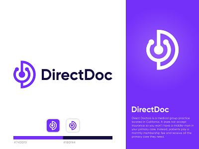 Direct Doc healthcare medical team doctor for app medical lettermark d corporate minimalist professional unique logo monogram branding brand identity icon flat modern
