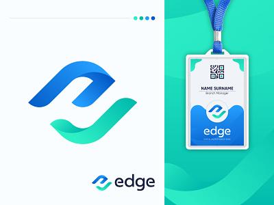 Edge move grow check funds microfinance finance bank monogram icon minimalist corporate professional unique brand identity flat logo logo mark letter mark e modern