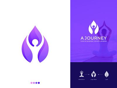 Meditation | Yoga logo mark human leaf modern logo best yoga logo corporate brand identity icon creative branding logo meditation yoga modern