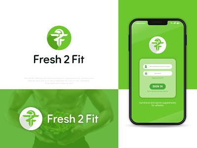 Fresh 2 Fit body building icon flat brand identity nutrition fresh athlete gym fitness leaf ff logo f letter f logo design app logo modern