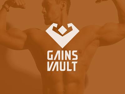 Gains Vault design icon brand identity human fitness diamond logo design bodybuilder gym minimalist flat modern