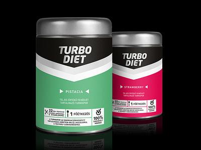 """Turbo Diet"" Protein powder packaging design weightloss proteinpackaging dietary supplement packagingdesign csomagolastervezes csomagolasdesign"