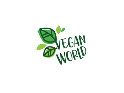 "Logo design ""Vegan World"" greenlogo vegan branding logodesign typography typologo"