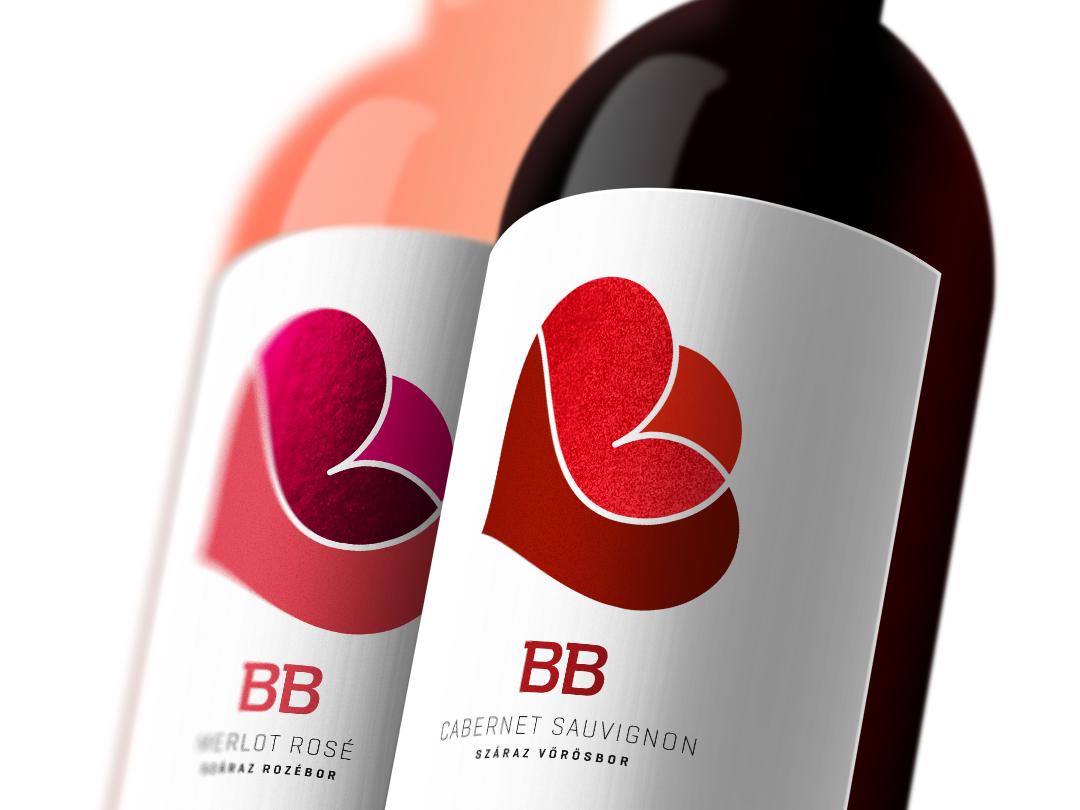 "Wine label design for hungarian wines ""BB"" typography typo packagingdesign winepackaging labeldesign winelabel"
