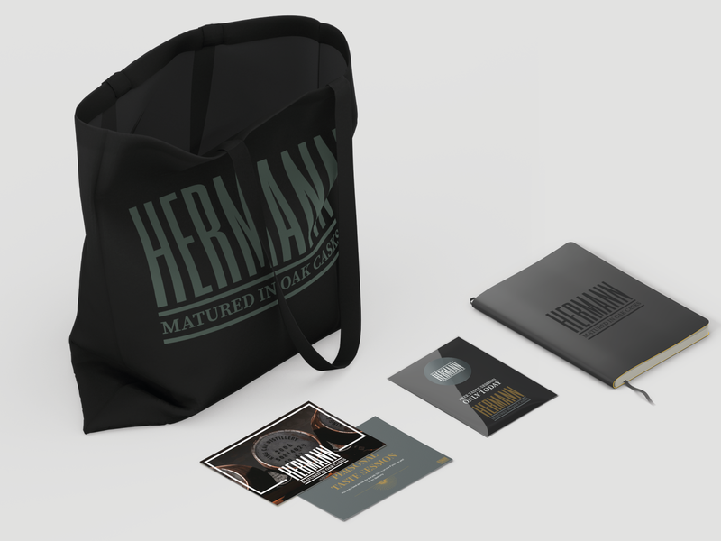 Hermann Merchandise renders notebook mockup postcard mockup tote mockup isometric vector mockup colour palette logo typography merchandise design design logo creation branding