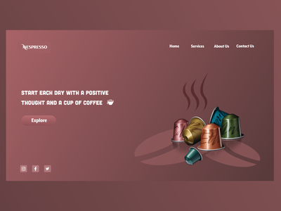 Nespresso branding capsule espresso coffee uiux ui xddailychallenge design website shot adobexd uidesign xd nespresso