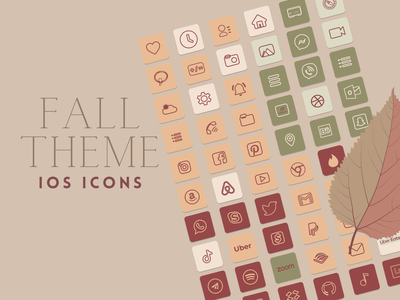 IOS ICONS Fall Theme outline icons neutral colors iosicon fall colors icons pack iconset icons design
