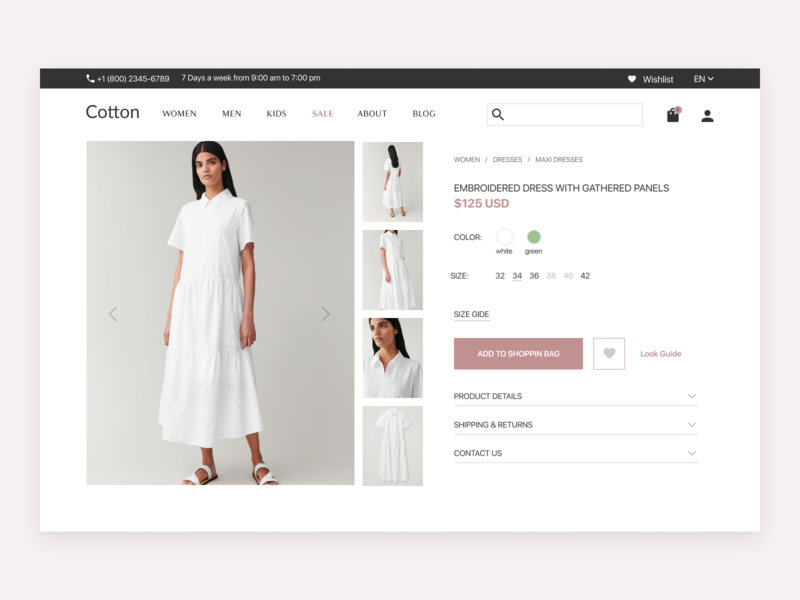 Product page - Online store Cotton online store online shop product page web design ux ui design