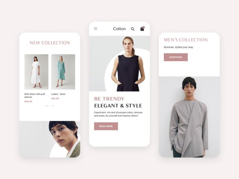 Responsive mobile - Online store Cotton online store online shop minimalistic responsive design responsive web design ux ui design