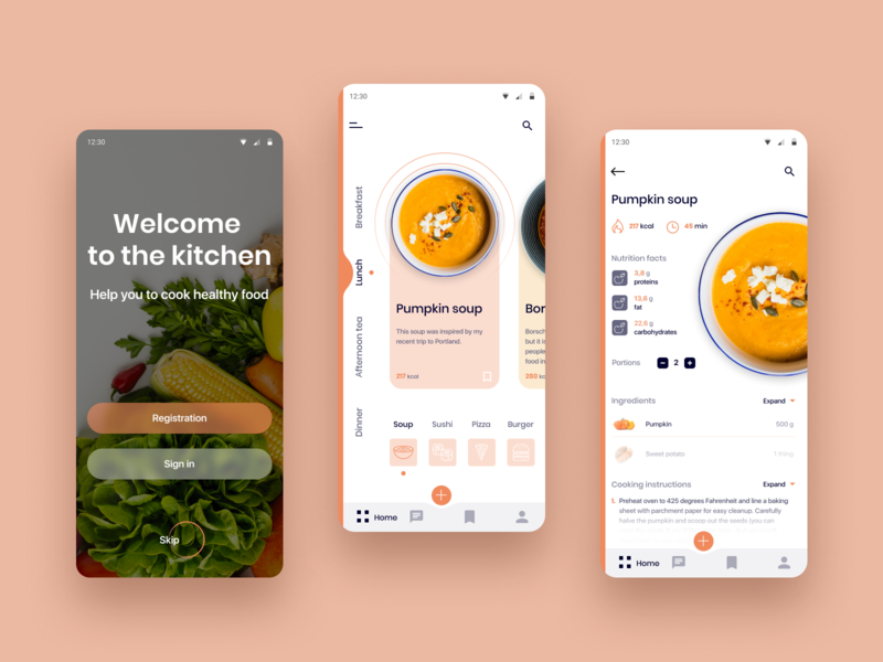 Mobile App -  Cooking Recipe UX/UI Designer mobile app mobile ui orange design app chef clear recipe cooking app minimalistic web design ui ux design