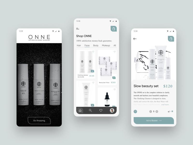 Mobile App - Cosmetics ONNE cosmetology cosmetics mobile design mobile app app online store online shop minimalistic web design ui ux design