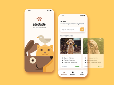 adoptable redesign uı mobile rescue animal adoption pets cat dog